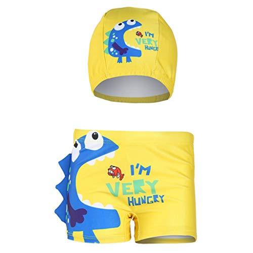 Alwayswin Kinder Jungen Cartoon Badehose Flachwinkel-Badeshorts + Hat Set Cute Letter Print Badebekleidung Polyester Einfarbig Badeanzug (Erstkommunion Kleider Für Erwachsene)