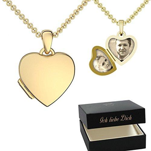 Foto Medaillon Herz Gold hochwertig vergoldet Herzkette Herz Anhänger zum Öffnen mit Kette inkl. GRATIS Luxus-Etui + Herzmedaillon – Kostenlose Gravur Ich Liebe Dich FF98 VGGG