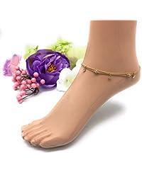 Satyam Kraft Stylish Golden Colour Two Layer Chain American Diamond Anklet For Girls.for Women,gift For Women,...