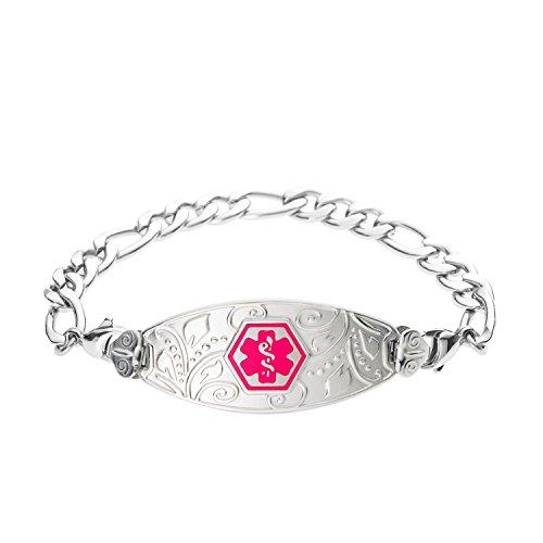 divoti-custom-engraved-lovely-filigree-medical-alert-bracelet-figaro-stainless-vivid-red-80