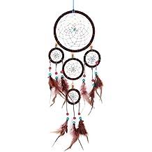 Atrapasueños grande para sueños buenos con perlas y plumas naturales marrón Ø 16 cm