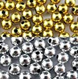Am Gold and Silver Metal Beads for Jewellery (8 mm)