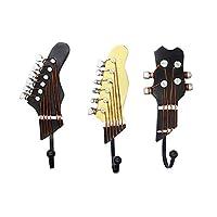 KUNGYO Vintage Guitar Shaped Decorative Hooks Rack Wall Coat Racks Hangers for Hanging Clothes Coats Towels Keys Hats Metal Resin Hooks Wall Mounted Heavy Duty (3-Pack)
