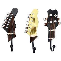 Juego de 3 Ganchos Decorativos Guitarra Forma Vintage Perchero de Pared para Colgar Sombrero,Abrigos,Teclas,Bolsa,silenciador