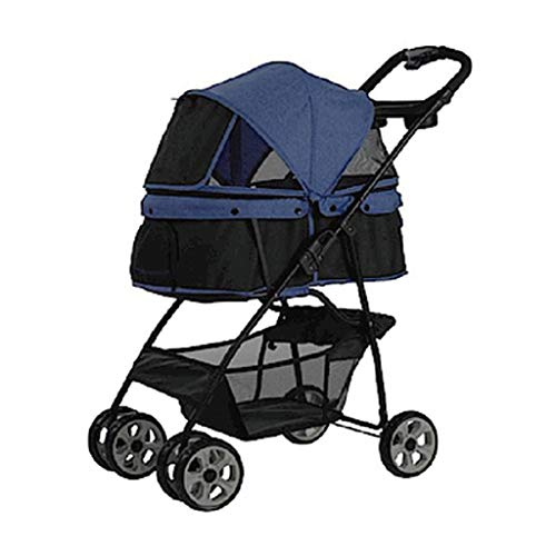 KKCD-Pet Stroller Pet Kinderwagen Hund/Katze Carrier Trolley Buggy Vierrad Pet Buggy Kinderwagen Tier Sportwagen Haustier-Kinderwagen (Farbe : Blau)