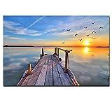 WSNDGWS HD Drucken Natürlichen Himmel Sonnenuntergang Seelandschaft Vogel Modernes Ölgemälde auf Leinwand Kunst Wandbild für Wohnzimmer Cuadros Dekoration