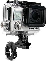Support et bras DURAGADGET vélo, moto sur guidon pour GoPro HERO5, Hero 5 Session, Hero 4, HERO+ LCD, Hero4 Session (Black & Silver CHDSS-101-EU) Session caméscopes / caméra embarquée tous modèles (Black & Silver, Surf) - noir