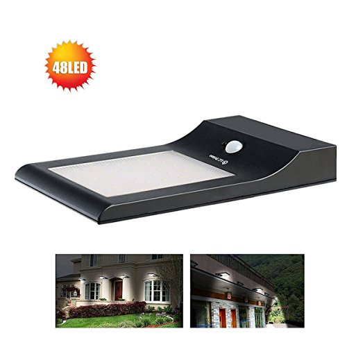 Solar Light Outdoor Motion (48 LED Solar Light Powered Motion Sensor Waterproof Outdoor Wireless Porch Wall NEW Version Super Bright Ultra-thin 2 Modes 850 Lumens Dark Sensing Auto On/Off plastic black, by LC Prime)
