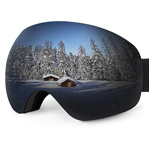 Karvipark Skibrille, Ski Snowboard Brille Brillenträger Schibrille Verspiegelt, Doppel-Objektiv OTG UV-Schutz Anti Fog Snowboardbrille Damen Herren Kinder für Skifahren Snowboard (Grau VLT24%) -