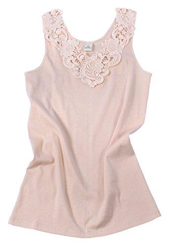 Damen Shirt, Unterhemd Gekämmte Baumwolle mit extra großer Spitze Ohne Seitennaht (52/54, Haut)