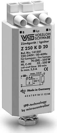 VS Vossloh Zündgerät Z150 Z250 K IPP 35 50 70 100 150 250 Watt CDM HCI HQI NAV SON