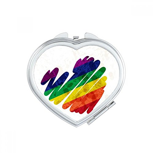 LGBT - Espejo de bolsillo para maquillaje, diseño de corazón arcoíris