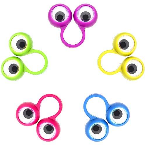 30 Piezas de Marionetas de Dedo de Ojo Anillos de Ojos Saltones Favores de Fiesta Juguetes para los Niños, 5 Colores (Pequeña Tamaño)