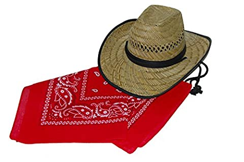 GIZZY® Adults Men, Women, Straw Black Band Cowboy Hat and Red Bandana Cowboy Set. (58cm)