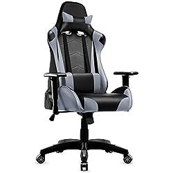 Sedia da Gaming Ergonomica reclinabile con braccioli regolazione altezza e staccabile poggiatesta Cuscino Lombare finta pelle Poltrona ufficio per computer, sedia pc (grigio)
