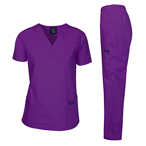 dagacci Scrubs Medical Uniform Frauen und Man Scrubs Set Medical Scrubs Top und Hose -  violett -  (Frauen Scrubs Uniformen)