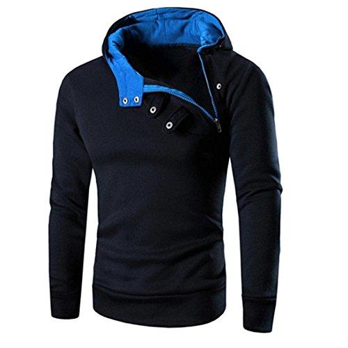 Herren Sweatshirt Dasongff Mode Herren Lange Ärmel Kapuzenpulli Tops Jacke Taschen Mantel Schrägem Reißverschluss Outweart Sweatshirt Kapuzenpullover (XL, D-Marine)