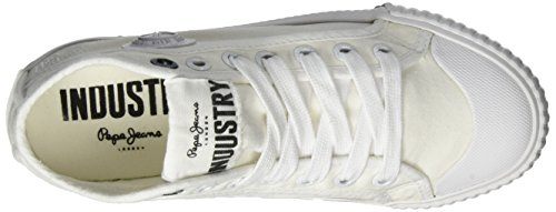 Pepe Jeans Mädchen Industry Routes Girls Low-Top Weiß (White)