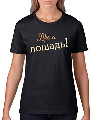 Comedy Shirts - Like a Pferd! Russisch - Damen T-Shirt - Schwarz/Hellbraun-Beige Gr. 3XL