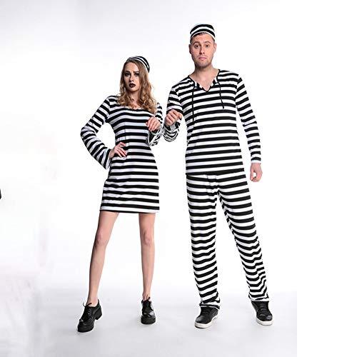 WANLN Halloween Kleid für Frauen Liebhaber Horror Bloody Zombie Männer Kleidung Prisoner Disguise Karneval Maskerade Streifen Scary Kostüme,Woman,M (Scary Kostüm Puppen)