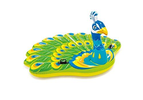Intex Badeinsel Pfau riesige Schwimminsel Luftmatratze mit Haltegriffen 193 cm