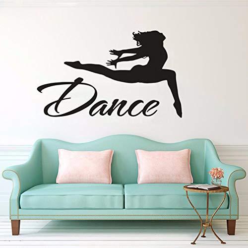o Gymnastik Wandkunst Sport Dekor Springen Tänzerin Wandtattoo Vinyl Aufkleber Dance Studio Dekor 54 * 90 cm ()