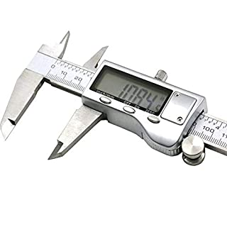 Alacrit Electronic Digital Caliper, 0-150mm / 0-6'' Metric Inch Conversion Depth Gauge Measuring Tools, Stainless Steel Vernier Caliper with Extra-Large LCD Display Screen