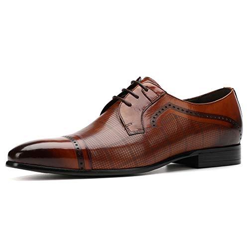 WMZQW Herren Derby Businessschuhe Schnürhalbschuhe Männer Leder Hochzeitsschuhe Anzugschuhe Oxford Smoking Schuhe Brogue Atmungsaktiv,Brown,42
