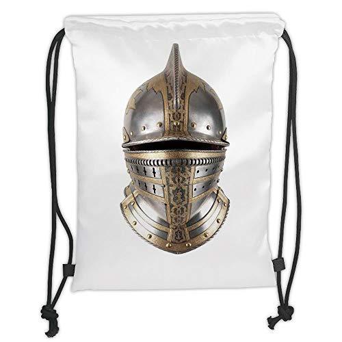 Drawstring Backpacks Bags,Medieval,Iron Helmet of Medieval Knight Heavy Headdress Tournament Tradition Design Art,Grey and Tan Soft Satin,5 Liter Capacity,Adjustable String Closure