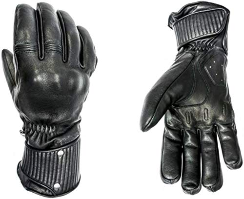 HELSTONS Braco - Guanti invernali da moto, in pelle, T8, colore: Nero