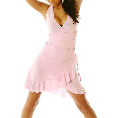 Miniabito abito donna vestitino ballo latino salsa merengue dress danza LI-1490 ROSA BALZA ROSA
