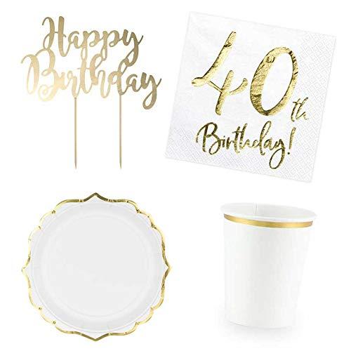 DekoGuru® Produktset Basic weiß mit gold - für 12 Pers (40. Geburtstag) -