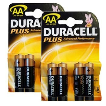 Duracell mn1500plus-b4(2Packungen) Plus Alkaline Batterie, AA Größe Alkaline General Purpose Batterie