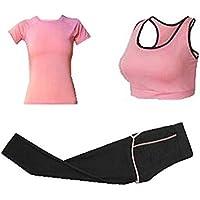 Blancho Bedding Aptitud Conjunto de Entrenamiento, Mujeres 3 Piezas Trajes del Deporte Trajes de Gimnasia Pantalones de Yoga