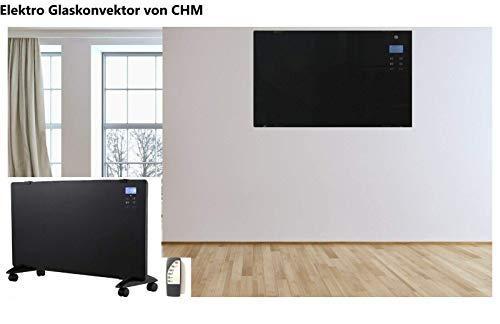 Glaskonvektor (gehärtetes Glas) CHX1500-CR 1500 Watt Temperaturbereich 15-35°C, 2 Heizstufen, LCD-Display, Touchscreen, Timer, Fernbedienung, Stand- oder Wandmontage, Wandhalterung.