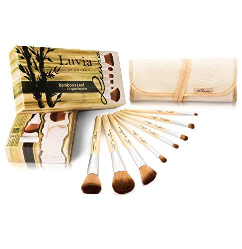 Luvia Pinsel Set Bamboo's Leaf - Make-Up Pinsel Set Bambus Inkl. 8 Pinseln & Praktischer Aufbewahrungstasche aus Leinen - Vegane Kosmetik-Pinsel/Schminkpinsel - Make-up Nyx Tasche