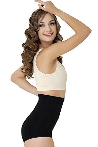 Formeasy Damen Figurformender Miederslip ohne Bein, bauchhoch - Bauchweg Unterhose Bauch Weg Slip Shapewear (S, Schwarz)