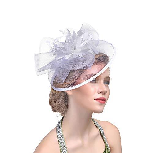 Hnks Fascinator-Hut Fascinators hat Blumenmaschen-Band-Party-Stirnband und Clip-Teeparty-Kopfschmuck für Mädchen und Frauen (Color : White)