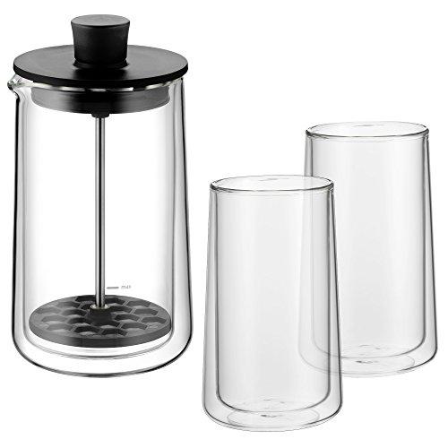 WMF Coffee Time Set 3-teilig Milchaufschäumer Glas hitzebeständig Cromargan Edelstahl rostfrei silber