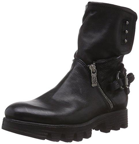 A.S.98  692206, Bottes de motard de hauteur moyenne, doublure froide femmes Noir - Noir
