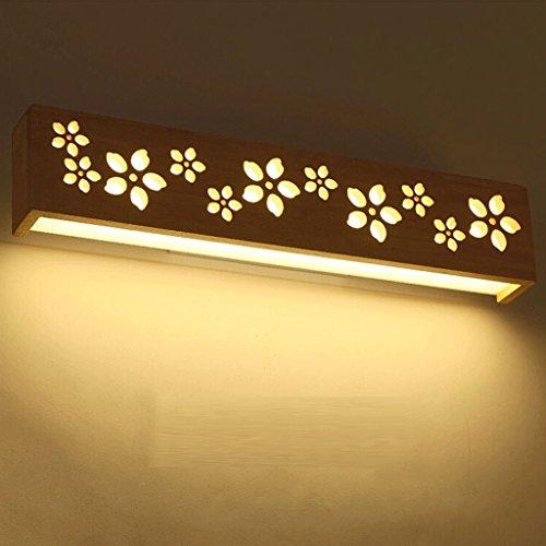 WOOE Moderne Leuchter LED Wandleuchten Leuchten Holz + Acryl Schatten Aufputz Wandleuchte Schlafzimmer Spiegel vorne Licht 45cm/17.7in warmes Licht