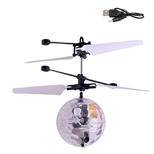 Volar Aviones no tripulados helicóptero Bola de Infrarrojos de inducción con Destello de luz LED de Colores Vuelo del Juguete para los niños (cristalino Transparente)