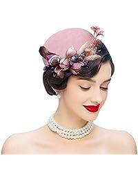 yeah67886sintética plumas poco de terciopelo Retro flor sombrero