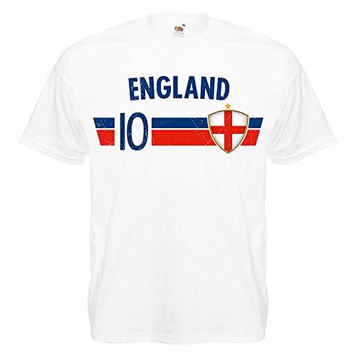 Fußball WM T-Shirt Fan Artikel Nummer 10 - Weltmeisterschaft 2018 - Länder Trikot Jersey Herren Damen Kinder England M