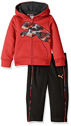 PUMA Baby Boys' 2 Piece Tech Fleece Hoodie Wrapped Cat and Pant Set, Fierce Red, 18 Months (Hoodie Puma Baby)