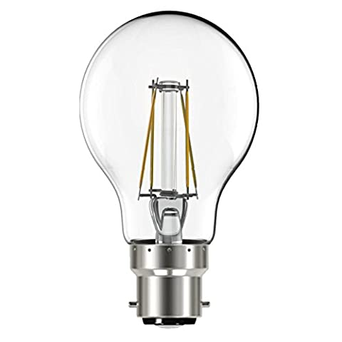 Liteway Filament 4w BC B22 GLS Pack of 3 LED Bulbs, 470 Lumen, Warm White, 40w Traditional Replacement