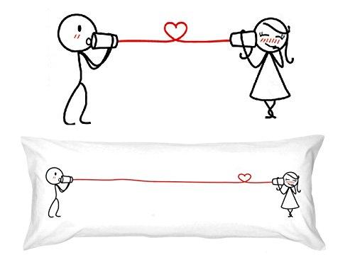 Lunga federa per cuscino, motivo sussurri d'amore, regalo romantico per anniversario, matrimonio, san valentino o solamente per creare un sorriso