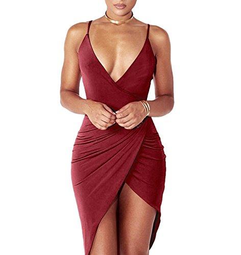 DRESHOW Damen Sexy Deep V-Ausschnitt Ärmelloses Spaghetti-Armband Bodycon Wrap Kleid Vorne Schlitzbandage Midi Club Kleid