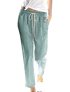 junkai Pantalones para Mujer - Verano Pantalones de Algodón Pantalones de Playa Cómodos Suaves Pantalones Casuales...