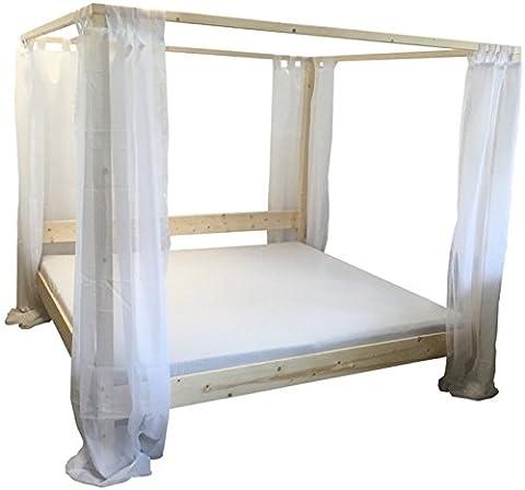 Himmelbett Bett Holz massiv Holzbett mit Vorhängen 90 100 120 140 160 180 200 x 200cm hergestellt in BRD (180cm x 200cm)
